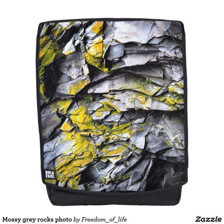 Mossy grey rocks photo backpack