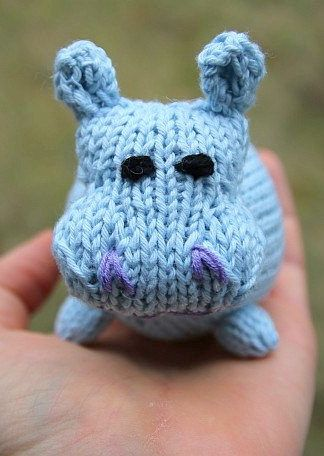 Knitting Pattern for Hippo Toy - The body is knit in one piece with head and feet knit separately and sewn on later. You can change the size by using a different weight of yarn.