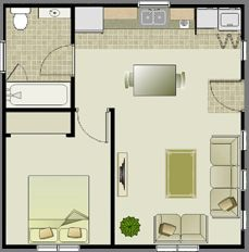 This is just under 500 square feet but the layout is for 40m apartment design