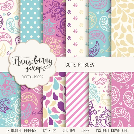 "Paisley digital paper: ""CUTE PAISLEY"" in pink, turquoise, purple, paisley…"