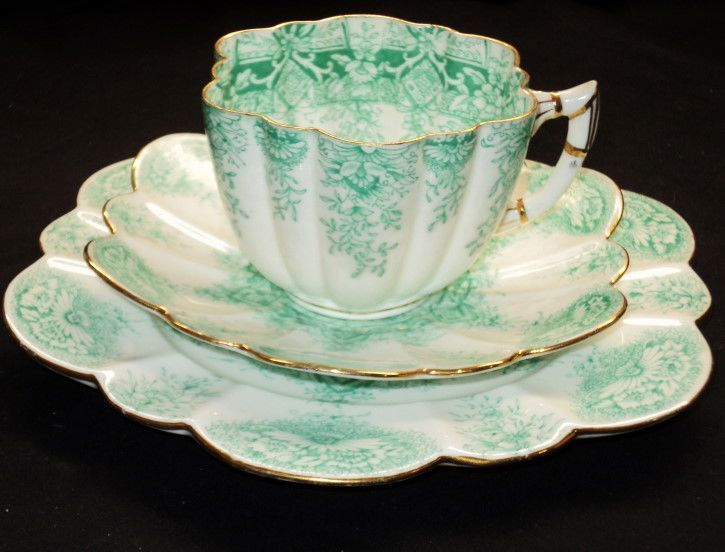 Shelley Foley China Wileman Green Tea Cup and Saucer Trio | eBay