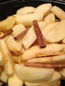Crock pot applesauce.  Healthy -- no sugar added, but it comes out very sweet and very delicious.  Cooked overnight on low, woke up to the wonderful scent of apples!
