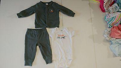Carter's 3 Piece Bodysuit, Cardigan, Pant Set 6 Months Gray Daddy's Little Gray