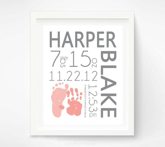 Birth Announcement Wall Art - Baby Girl Nursery - Baby Footprint Handprint - Pink and Grey Nursery - Baby Name Art - New Baby Gift
