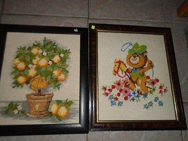 Prodám dva vyšívané větší obrazy-strom 300,medvídek-230 ,koukněte