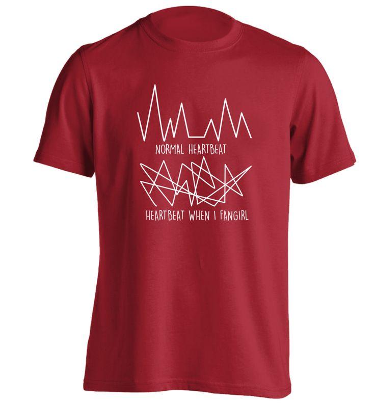 New to FloxCreative on Etsy: Normal heartbeat vs when I fangirl T Shirt joke funny fandom fan geek nerd tumblr instagram hipster gift love concert Tshirt S - 5XL 144 (12.95 GBP)