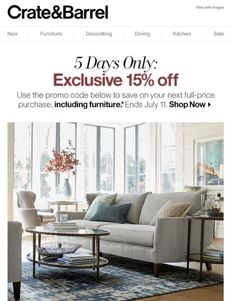 Crate and Barrel 15% off Code Online In Store  Exp 7/11 -Fast Delivery  | eBay