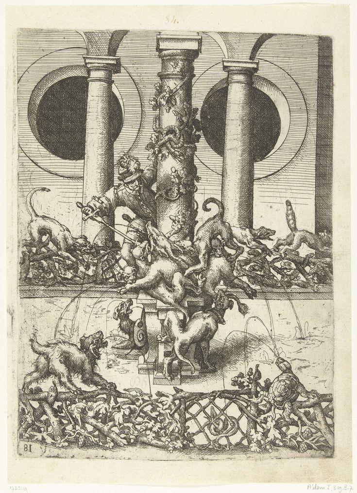 Wendel Dietterlin (I) | Fontein, Wendel Dietterlin (I), 1560 - 1598 | Op een sokkel, aan de voet van een zuil, doorsteekt een jager een door honden vastgehouden everzwijn. Het bekken is omheind met een hekwerk van takken waarin links een hond en rechts een schildpad zit. Eén van 20 bladen uit een serie (Architectura. Von Ausztheilung, Symmetria und Proportion der fünff Seulen...) bestaande uit 193 bladen en 5 titelbladen, verdeeld over vijf boeken. Het gaat hier om een tweede, uitgebreide…