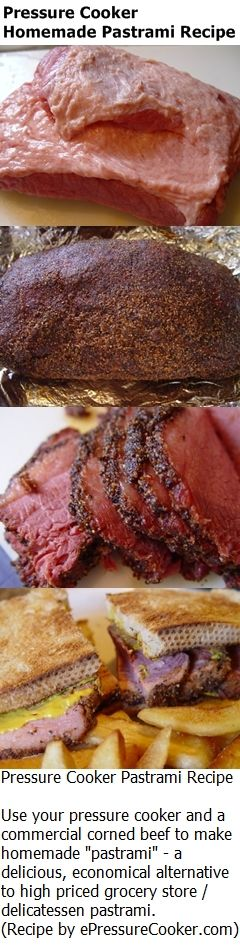 "Pressure Cooker Pastrami Recipe - use a commercially prepared corned beef and your pressure cooker to make ""pastrami"". Its easy, tasty and much less expensive than buying commercial pastrami."