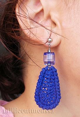 Crochet teardrop earrings in cobalt