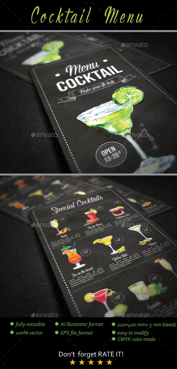 Cocktail Menu — Vector EPS #fruit drinks #nightclub • Available here → https://graphicriver.net/item/cocktail-menu/18404254?ref=pxcr