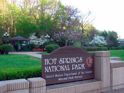 Hot Springs National Park, Arkansas. This is the only national park located within a city's limits! Located in the heart of Hot Springs, Arkansas, it's full of natural hot springs, beautiful flowering trees, walking trails and a row of historic Art Deco bathhouses that are all listed on the National Register of Historic Places.