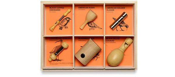 A set of wooden bird calls!