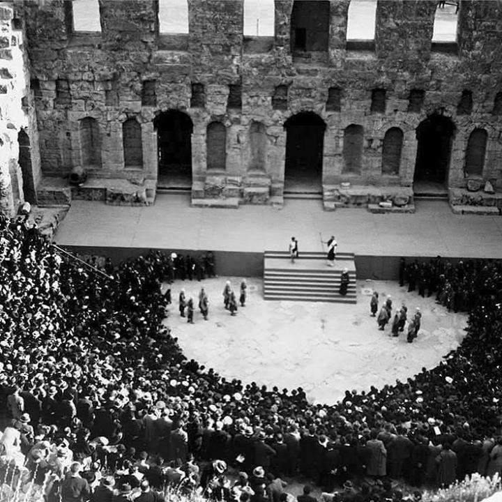 """1926 ~ """"Antigone"""" play at the Odeon of Herodes Atticus, Athens"""