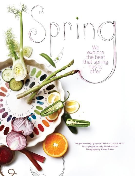 Food layout from Sweet Paul Magazine - great use of food and color