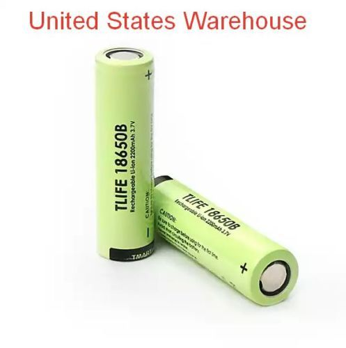 2pcs-TLIFE-3-7V-2200mAh-18650-Rechargeable-Li-ion-Batteries-Flattop-Green