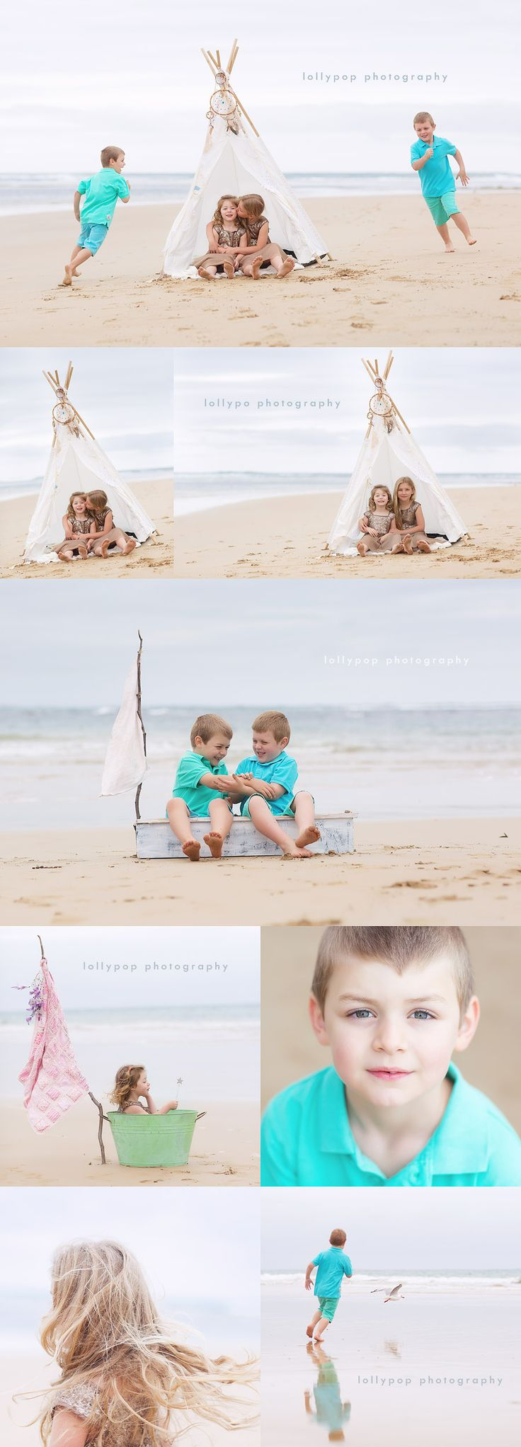 Lollypop photography - gorgeous natural light and beachy colours. Especially love the little girl in the tub!