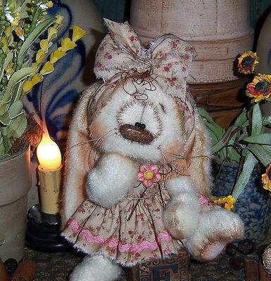 Primitive Raggedy Ann Easter Bunny Rabbit Bear Spring Doll Vtg Patti's Ratties