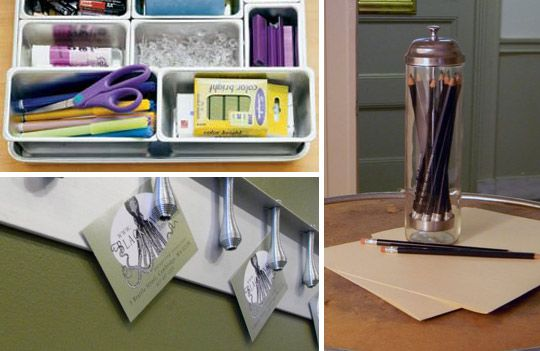 9 surprising things you can use to organize your office. (All available at thrift stores/ flea markets/ the recycling bin at home)
