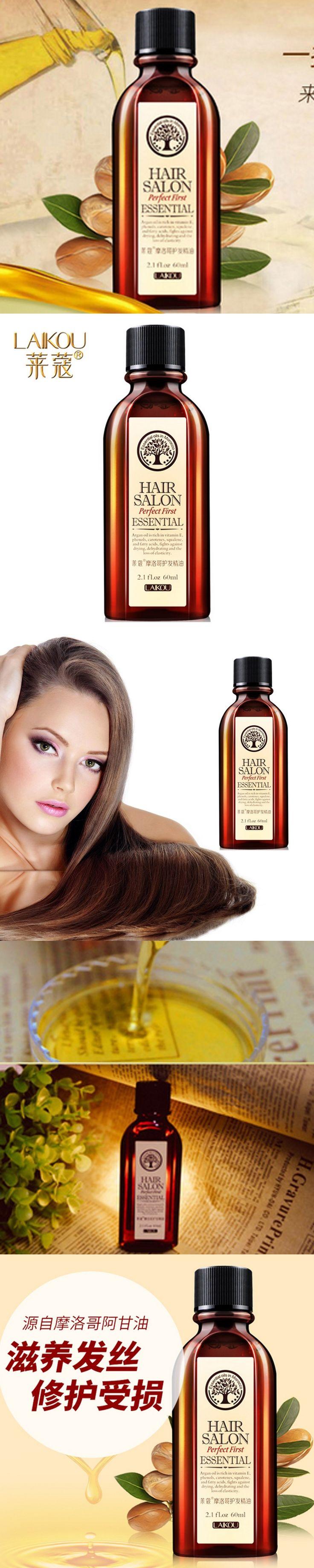 Laikou Moroccan Pure Argan Oil Hair Care Hair Essence Oil Repair Treatment for Dry Hair Types Hair and Scalp Treatment 60ml