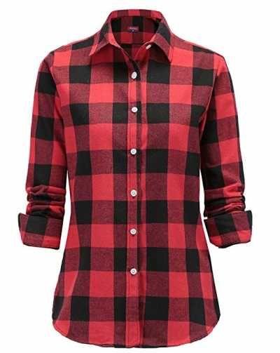 Camisas para mujer cuadros rojos manga larga Ofertas especiales y promociones  Caracteristicas Del Producto: Elegante camisa estampada de cuadros con di
