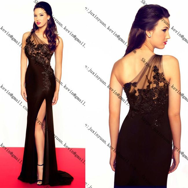 Free Shipping New Arrival Hot Sale!Mermaid Appliques One Shoulder With Slit Black Long Sexy Chiffon Evening Dresses Formal Dress $153.00