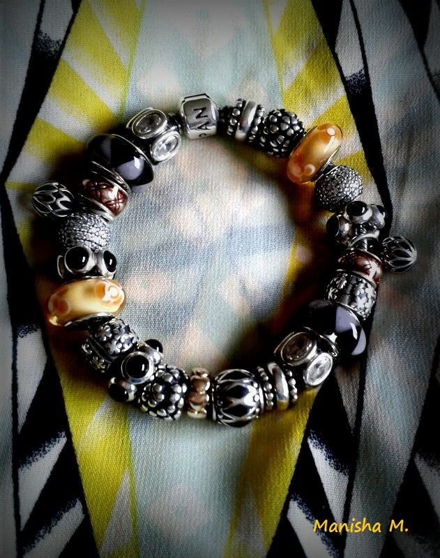 eebaa4282 PANDORA Bracelet with Edgy Black and Yellow Colour Scheme. Featuring Cheery  Yellow Murano,