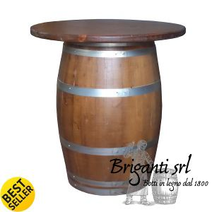 Wooden barrel table Code TTB001 Top diameter = 78 cm Barrel medium diameter = 65 cm Height = 95 cm 219 euro + shipping costs  We are looking for dealers worldwide, especially in the E.U. and in the U.S.