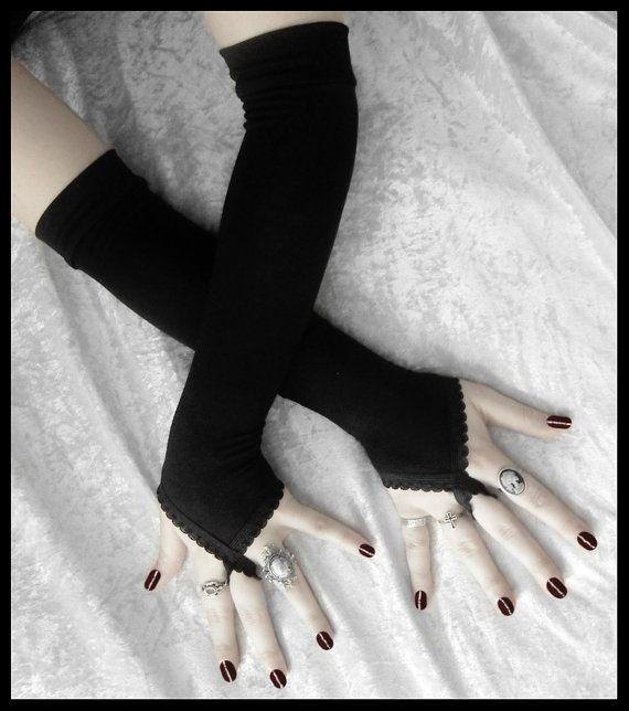 Fingerloop Arm Warmers - Pirouette - Black - Gothic Wedding Regency Belly Dance Victorian Vampire Caberet Goth Burlesque Yoga Opera Evening on Etsy, $34.00