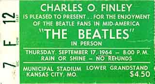 The Beatles' Concert on September 17, 1964 in KCMO---my mom wouldn't let me go!!!!!!!!!!!!!!!!!!  Too scared I would get hurt! LOL