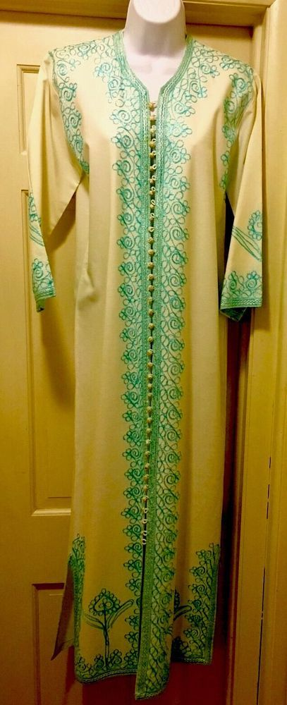 Genuine Hand Embroidered Long Turquoise  & White Caftan From Morocco, New, 8  | eBay