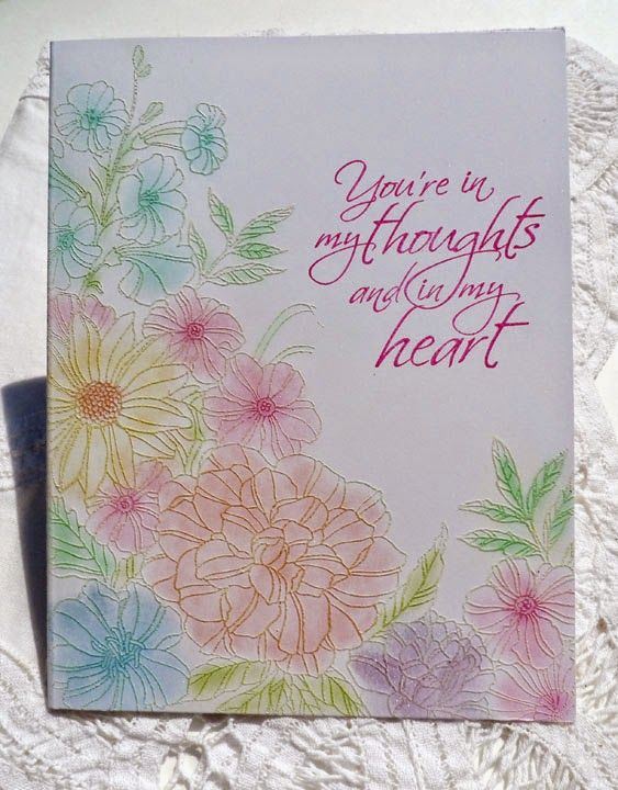handmade card from Sleepy in Seattle ... Corner Garden embossed in white ... pearlescent chalks rubbed over ... luv the soft shading with darker centers ... delightful!