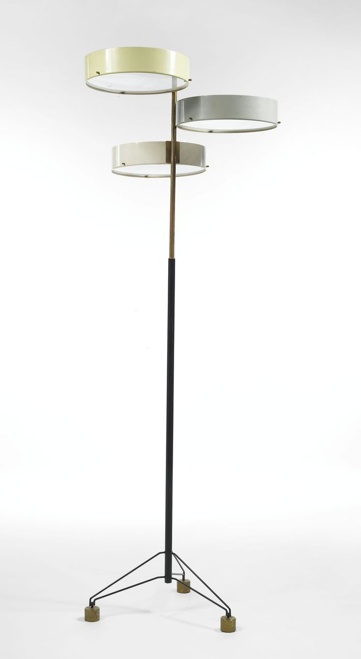 Anonymous; Brass, Enameled Metal and Glass Floor Lamp by Arteluce, 1950s.