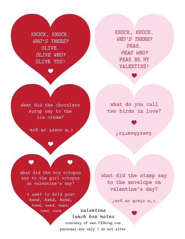 seven thirty three - - - a creative blog: Valentine Lunch Jokes