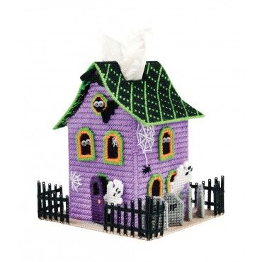 My favorite source for arts and crafts:  Spook House Tissue Box Cover Pattern