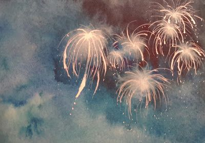 Trudy Tibbitts Roberts Watercolor Painting Fireworks Independence Day 4th of July