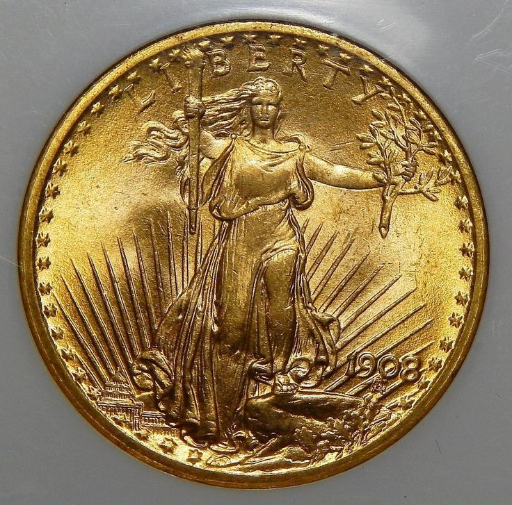 Vintage 1908 Ngc MS67 $20 No Motto - Wells Fargo St. Gaudens Gold Coin - for sale at www.rubylane.com @rubylanecom #vintagebeginshere Rare Coins