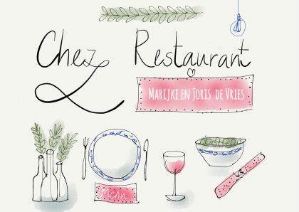 Een originele manier om  vrienden uit te nodigen voor bijvoorbeeld een etentje bij u thuis of bij een restaurant. De tekst is aanpasbaar.