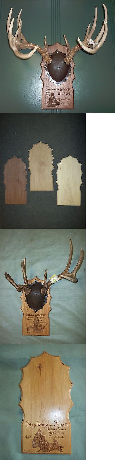 Large Animals 177908: Personalized Mounting Taxidermy Deer Antler Plaque Trophy Engraved Walnut Cherry BUY IT NOW ONLY: $45.0