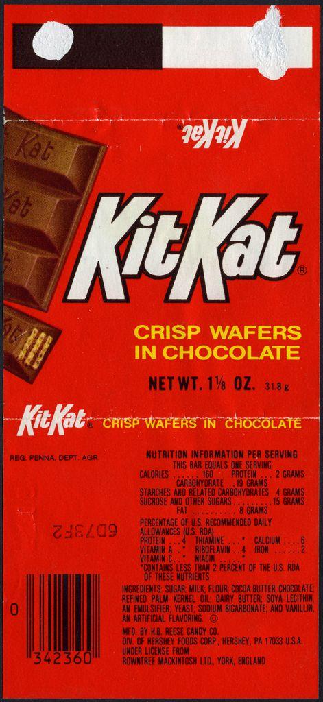 Kit Kat - 1 1/8 oz candy bar wrapper - 1980's | MINIATURE ...