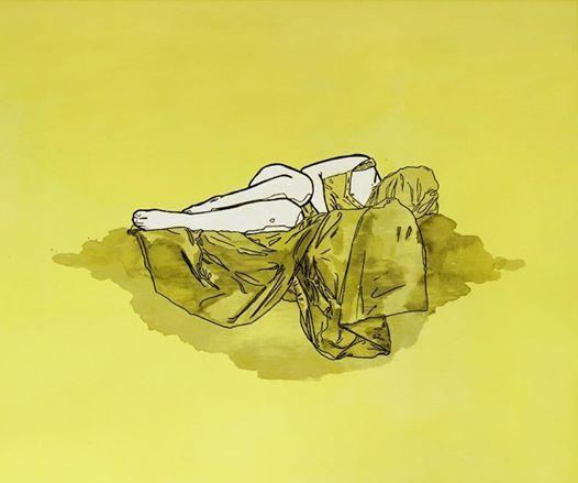 Francesca Marta, Vergogna, 2014, acrilico, china e uniposca su tela, 60 x 70 cm  su Espoarte 86