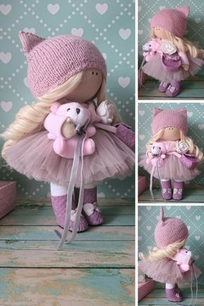 Muñecas Tilda doll Bambole di stoffa Rag doll Fabric doll Handmade doll Nursery doll Pink doll Cloth doll Baby doll Textile doll by Elvira __________________________________________________________________________________________ Hello, dear visitors! This is handmade cloth doll created by Master Elvira F (Nizhnevartovsk, Russia). All dolls stated on the photo are mady by artist Elvira F. You can find them in our shop searching by artist name. Doll is 30 cm (11.8 inch) tall and made of on...