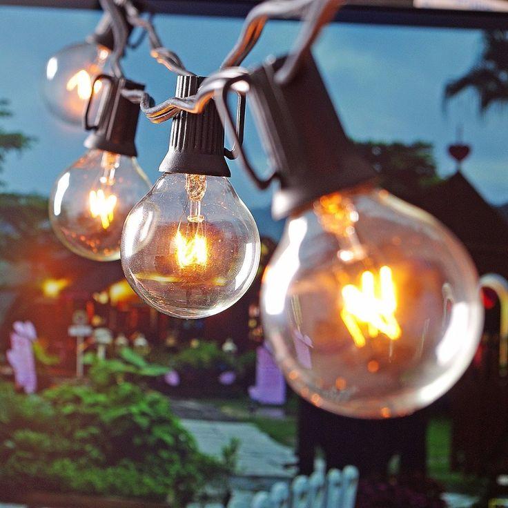 パティオライトg40グローブパーティークリスマスストリングライト、暖かい白25クリアヴィンテージ電球25ft、装飾屋外裏庭花輪