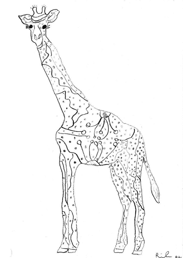 Line Art Giraffe : Giraffe drawing kids projects pinterest