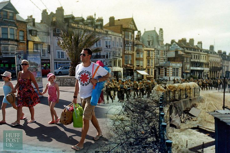 In 2014, tourists stroll by where the 2nd Battalion US Army Rangers once marched to their landing craft in Weymouth, England June 5, 1944.