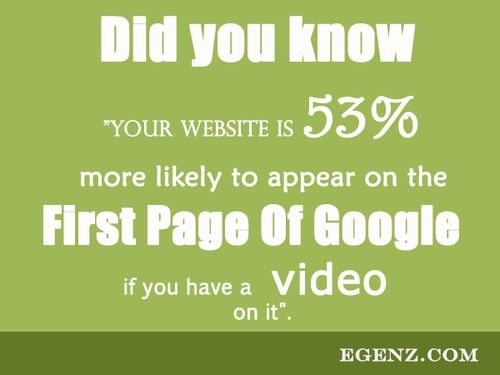 """Did you know """"Your Website is 53% more likely to appear on the First Page Of Google if you have a video on it"""".  We also provide services such as Malaysia Website Design, Web Development Kuala Lumpur, Groupon Website, Auction Website, Ecommerce, SMS Blast Malaysia, Internet Marketing, SEO, Online Advertising Malaysia and etc. For more information, please visit our website www.Egenz.com or call us now +603-62099903. 