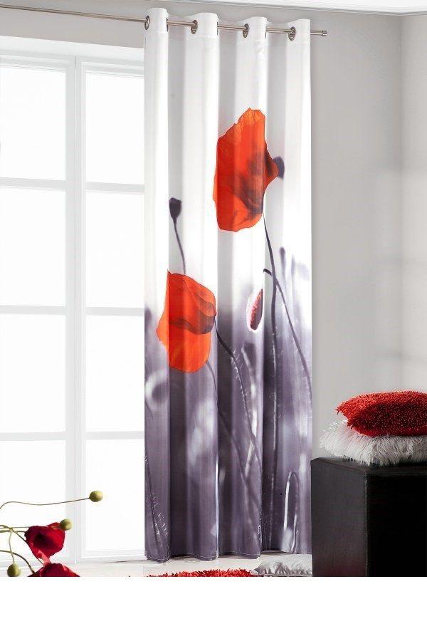 Zasłona na przelotkach biało czarnego koloru w czerwone maki