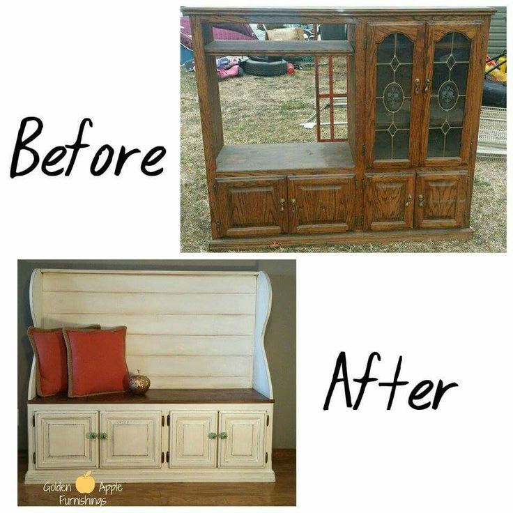 furniture repurpose. entertainment center upcycle into a bench furniture repurpose