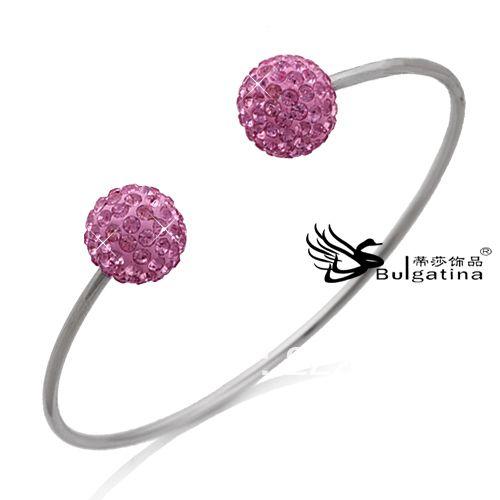 Изящные Новый Очаровательная Изящные Нержавеющей Стали Хрустальный Шар Браслеты И Браслеты Для Женщин, Розовый Цвет