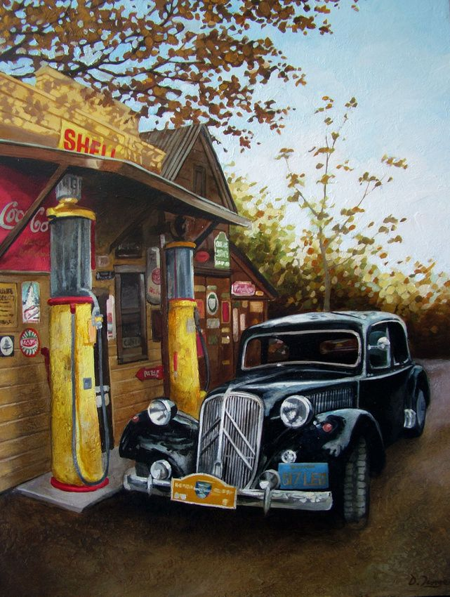 Old Junk Cars For Sale >> Gas Station- Vintage Car Art, classic Old Motors painted in oils. Original & Giclee Canvas ...